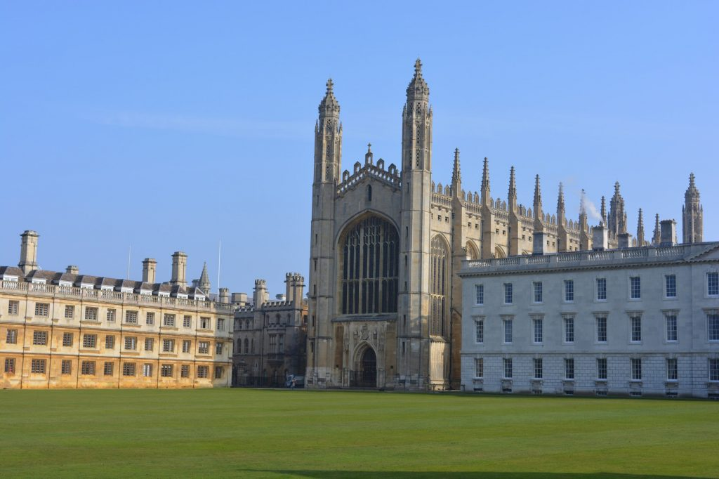 King's College Chapel and the Back Lawn, University of Cambridge, Cambridgeshire, England.